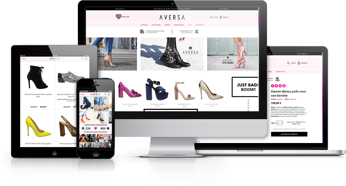 Sviluppo front-end e-commerce AversaShoes.com